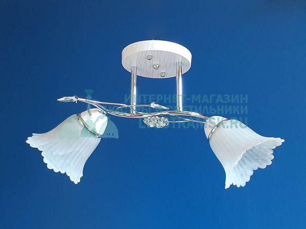 Люстра потолочная LyustraMsk ЛС 363 на 2 плафона, белый/хром