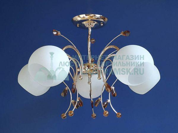 Люстра потолочная LyustraMsk ЛС 419 на 5 рожков золото
