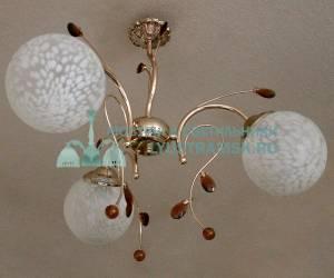 Люстра подвесная LyustraMsk ЛС 069 на 3 рожка золото
