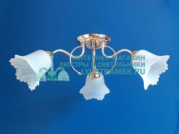 Люстра потолочная TinKo ЛС 537 на 3 рожка, золото