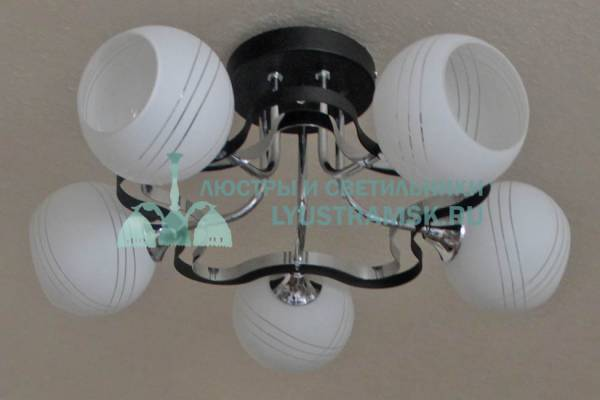 Люстра потолочная TinKo ЛС 444 на 5 рожков, черный хром