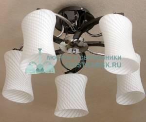 Люстра потолочная ЛС 598 на 5 рожков хром/венге