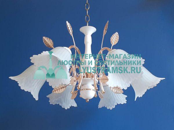Люстра подвесная LyustraMsk ЛС 357 на 6 рожков белый/золото