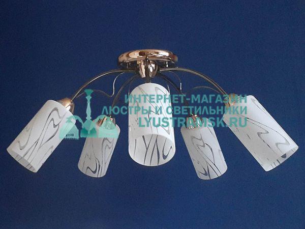 Люстра потолочная LyustraMsk. ЛС 696 на 5 рожков графит/золото