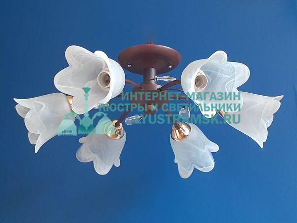 Люстра потолочная  LyustraMsk ЛС 704 на 6 рожков венге
