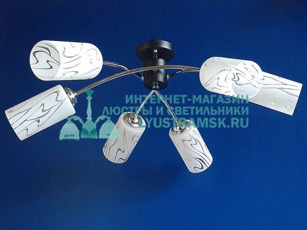 Люстра потолочная TinKo ЛС 676 на 6 рожков, черный/хром