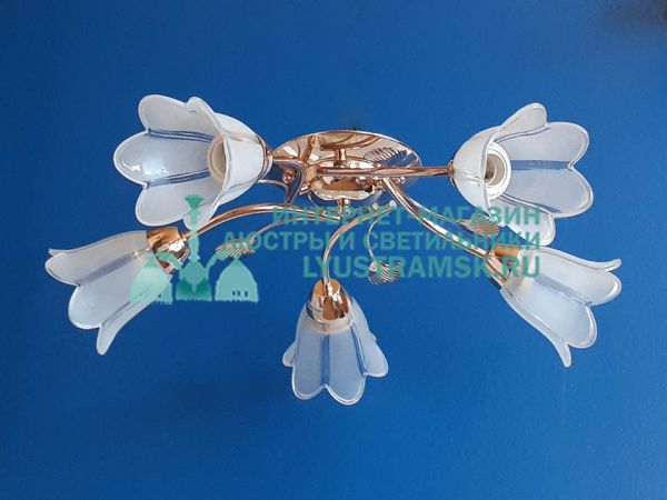 Люстра потолочная LyustraMsk ЛС 406 на 5 рожков, золото