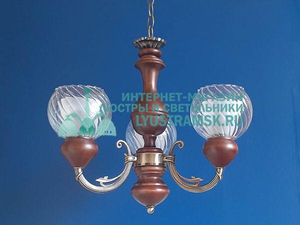 Люстра подвесная LyustraMsk ЛС 026 на 3 рожка, бронза