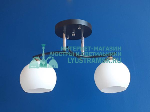 Люстра потолочная TinKo ЛС 348 на 2 рожка, венге, хром