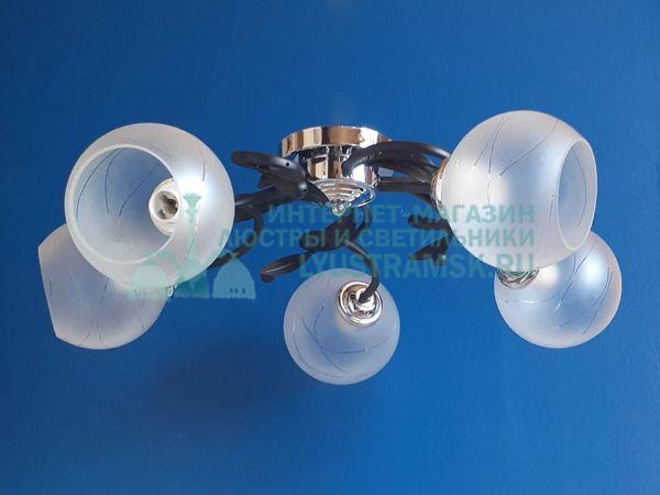 Люстра потолочная TinKo ЛС 398 на 5 рожков черный/хром