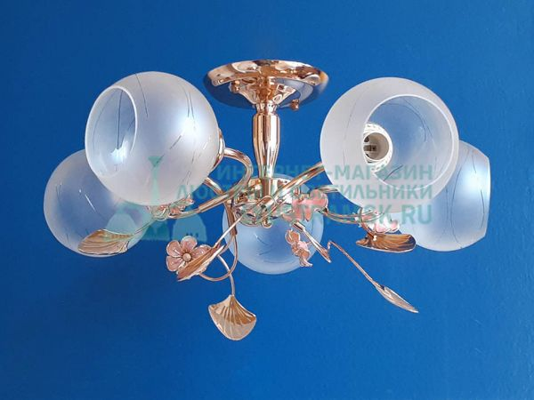 Люстра потолочная LyustraMsk ЛС 052 на 5 рожков золото