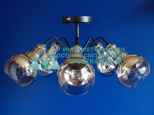 Люстра потолочная Лофт ЛС 793 на 5 рожков, венге, хром