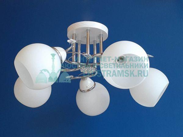 Люстра потолочная LyustraMsk ЛС 363 на 5 рожков, хром/белый