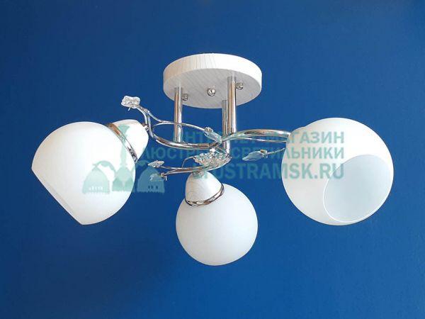 Люстра потолочная LyustraMsk ЛС 363 на 3 рожка, хром/белый