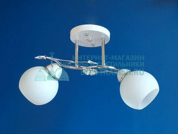 Люстра потолочная LyustraMsk ЛС 363 на 2 плафона, хром/белый