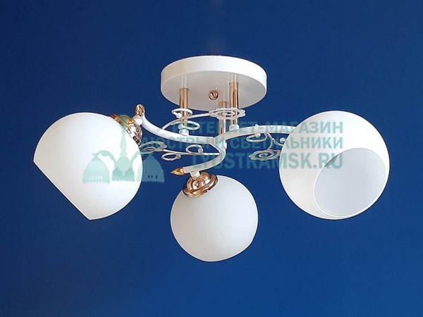 Люстра потолочная LyustraMsk ЛС 351 на 3 плафона, белый/золото
