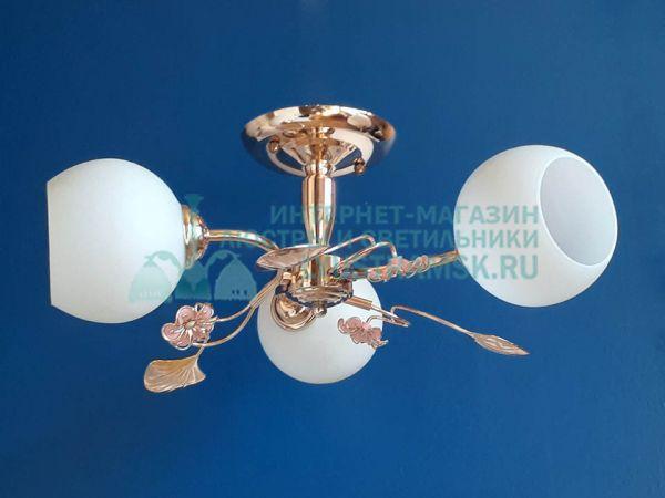 Люстра потолочная LyustraMsk ЛС 052 на 3 рожка, золото