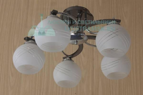 Люстра потолочная Eurosvet(Евросвет) ЛС 329 на 5 плафонов, хром/венге