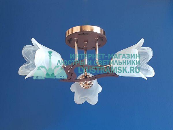 Люстра потолочная LyustraMsk ЛС 076 на 3 плафона золото/черн